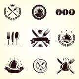 Geplaatste restaurantetiketten. Vector Stock Afbeelding