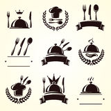 Geplaatste restaurantetiketten Vector royalty-vrije illustratie