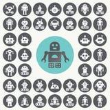 Geplaatste robotpictogrammen Royalty-vrije Stock Afbeeldingen