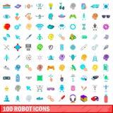 100 geplaatste robotpictogrammen, beeldverhaalstijl Stock Foto