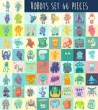 Geplaatste robots, vectorillustratie, Handtekening Royalty-vrije Stock Foto