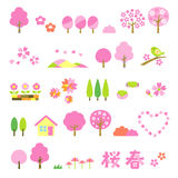 Geplaatste Sakurabomen stock illustratie