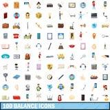 100 geplaatste saldopictogrammen, beeldverhaalstijl Stock Afbeelding