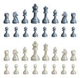 Geplaatste schaakstukken Stock Afbeelding
