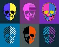 Geplaatste schedels 6 beelden op verschillende achtergronden elk beeld is gr. Stock Foto's