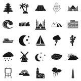 Geplaatste schemerpictogrammen, eenvoudige stijl Stock Foto