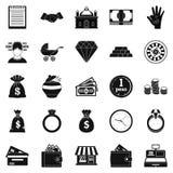 Geplaatste schenkingspictogrammen, eenvoudige stijl Stock Fotografie