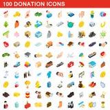 100 geplaatste schenkingspictogrammen, isometrische 3d stijl Royalty-vrije Stock Afbeelding