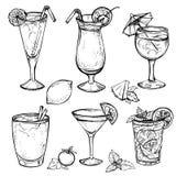 Geplaatste schetscocktails en alcoholdranken Stock Fotografie