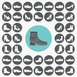 Geplaatste schoenenpictogrammen Royalty-vrije Stock Foto