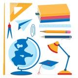 geplaatste schoollevering Bol, handboeken, wijzer, kompas, pen, potlood, heerser stock illustratie