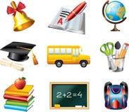 Geplaatste schoolpictogrammen Stock Foto