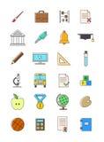 geplaatste schoolpictogrammen Stock Afbeeldingen