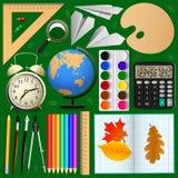 Geplaatste schoolpunten voorwerpen, vector Royalty-vrije Stock Afbeeldingen