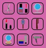 Geplaatste schoonheids vlakke pictogrammen Royalty-vrije Stock Fotografie