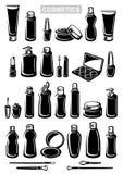Geplaatste schoonheidsmiddelen Inzamelingsetiket en pictogrammen Vector Royalty-vrije Stock Foto's