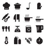 Geplaatste silhouet Kokende pictogrammen Royalty-vrije Stock Fotografie