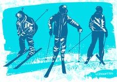 Geplaatste skiërssilhouetten Royalty-vrije Stock Foto's