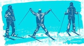 Geplaatste skiërssilhouetten Stock Fotografie