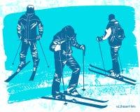 Geplaatste skiërssilhouetten Royalty-vrije Stock Afbeelding
