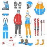 Geplaatste ski en snowboard pictogrammen Royalty-vrije Stock Afbeelding