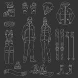 Geplaatste ski en snowboard pictogrammen Royalty-vrije Stock Fotografie