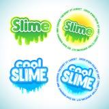 Geplaatste slijm logotype malplaatjes Vloeibaar groen en blauw slijm royalty-vrije illustratie