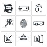 Geplaatste sluitenpictogrammen Vector illustratie Stock Afbeelding