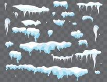 Geplaatste sneeuwkappen, sneeuwballen en sneeuwbanken Sneeuwglb vectorinzameling Het element van de de winterdecoratie Sneeuwelem royalty-vrije illustratie