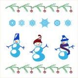 Geplaatste sneeuwman en sneeuwvlokken Stock Afbeeldingen