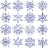 Geplaatste sneeuwvlokken Stock Foto's