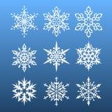 Geplaatste sneeuwvlokken negen ontwerpelement Stock Afbeelding