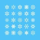 Geplaatste sneeuwvlokken Vectorpictogrammen Royalty-vrije Stock Foto