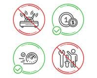 Geplaatste snelheidsmeter, Usd muntstukken en Wifi-pictogrammen Herstellerteken Tijdconcept, Contante betaling, Internet-router V vector illustratie