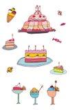 Geplaatste snoepjes en desserts Stock Foto