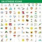 100 geplaatste spanningspictogrammen, beeldverhaalstijl Royalty-vrije Stock Afbeelding