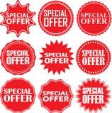 Geplaatste speciale aanbiedingtekens, de reeks van de speciale aanbiedingsticker, vectorillus Stock Foto