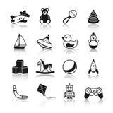 Geplaatste speelgoed Zwarte Pictogrammen Royalty-vrije Stock Foto