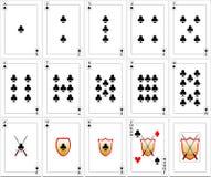 Geplaatste speelkaarten - Clubs Royalty-vrije Stock Foto
