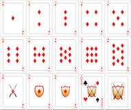 Geplaatste speelkaarten - Diamanten Stock Foto's