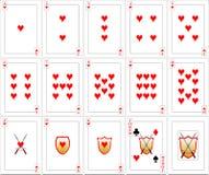 Geplaatste speelkaarten - Harten Stock Afbeelding