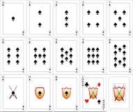 Geplaatste speelkaarten - Spades Stock Afbeelding