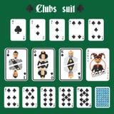 Geplaatste speelkaartenclubs Royalty-vrije Stock Afbeelding