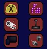 Geplaatste spelpictogrammen Stock Fotografie