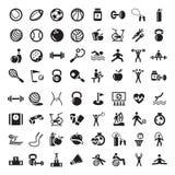 Geplaatste sporten en fitnes pictogrammen Royalty-vrije Stock Afbeelding
