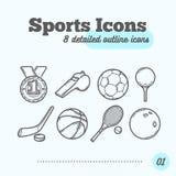Geplaatste sportenpictogrammen (Medaille, Fluitje, Voetbal, Golf, Hockey, Basketbal, Tennis, het Werpen) in dun lijnontwerp Stock Afbeelding