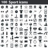 100 geplaatste sportpictogrammen Stock Foto's