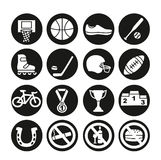 Geplaatste sportpictogrammen, illustratie Sportmateriaal Stock Foto's