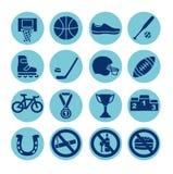 Geplaatste sportpictogrammen, illustratie Sportmateriaal Royalty-vrije Stock Fotografie