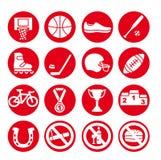 Geplaatste sportpictogrammen, vectorillustratie Sportmateriaal Stock Foto's